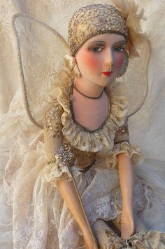 460710727e8 A Fairy Doll!  -) RARE ANTIQUE FRENCH BOUDOIR DOLL. FAIRY