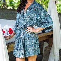 Batik robe, 'Jasmine Sky'