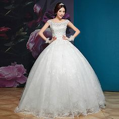 Elegant & Luxurious Ball Gown Off-the-shoulder/Square Floor-length Wedding Dress (Lace) – USD $ 299.99