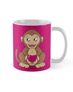 """Monkey Love"" Mug by Savousepate on Redbubble #mug #monkey #ape #love #heart #valentinesday #cute #kawaii #pink #magenta #fushia #brown"