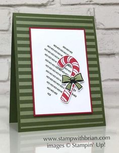 Quick-and-Easy with Candy Cane Season Candy Cane Season, Stampin & # Up ! Christmas Cards 2018, Xmas Cards, Holiday Cards, Handmade Christmas, Christmas Diy, Simple Christmas, Christmas Candy, Karten Diy, Christmas Towels