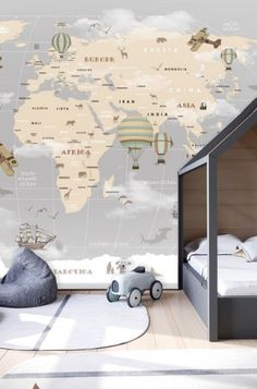 Kids Removable Wallpaper Mural Peel & Stick Wallpaper Self Adhesive World Map Remove Wall Paper Nursery Wall Mural Baby Boy Wallpaper Old Wallpaper, Nursery Wallpaper, Peel And Stick Wallpaper, Map Nursery, Nursery Wall Murals, Maps For Kids, Focal Wall, Kids Prints, Gray Background