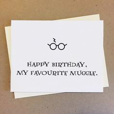 CARD: Happy birthday, my favourite muggle. Made to order. sized card x Printed on white cover card stock. Harry Potter Scar, Harry Potter Poster, Harry Potter Drawings, Harry Potter Movies, Cute Small Drawings, Harry Potter Birthday Cards, Birthday Card Online, Card Tags, Birthday Fun