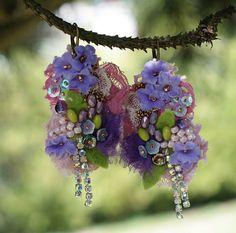 Baroque inspired textile earrings  gipsy earrings by KingaDesign