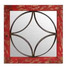 Red Geometric Mirrored Plaque