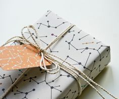 "Eco-friendly Wrapping Paper ""White Molecules"" Set of 2. $7.00, via Etsy."