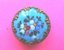 ANTIQUE LOVELY HAND ENAMELLED FLORAL BRASS BUTTON.FORGET ME NOTS.