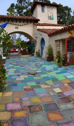 Colorful handmade tiles at Balboa Park's Spanish Village Art Center in San Diego, California