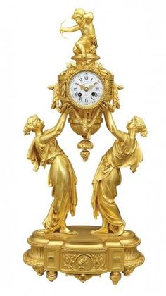 Louis XVI Style Gilt-Bronze Figural Mantel Clock