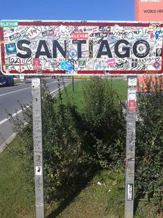 "I don't like the fact that ""Pilgrims"" have defaced this sign. In fact every monument, way marker and road sign from Sarria to Santiago has been defaced. I leave my name in albergue guest books only Camino Portuguese, Spanish Sides, Sign Fonts, St Jacques, The Camino, Happy Trails, Pilgrims, Spain And Portugal, Guest Books"