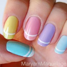 Last-minute Easter Nails!  Super easy and fits the occasion ;) www.MaryamMaquillage.com #maryammaquillage #pastel #easternails #mani - @Maryam Maquillage