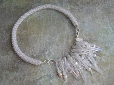 Bohemian Crystal Bead Crochet Necklace with by TerebellumStudio