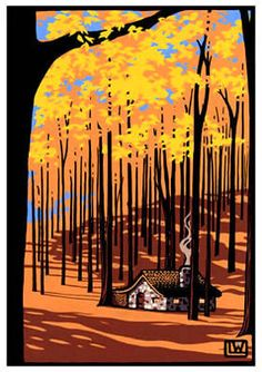 Laura Wilder | Autumn Cottage | Block Print | Modern Bungalow in Denver, Colorado