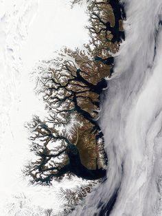 グリーンランド東海岸のフィヨルド