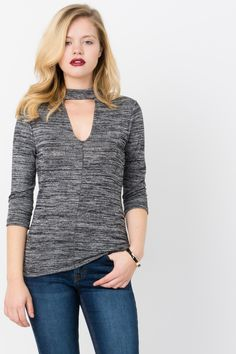 0a2864a0be98c Suzy Shier Mock Neck Space Dye Top