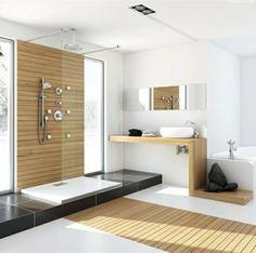Badezimmer Weißes Waschbecken Holzelemente Duchwand Glas