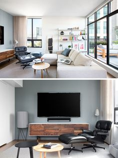 Inspired by Brooklyn's warehouse lofts, the interior of this loft apartment has modern design elements that have been combined with wood to create a bright and welcoming space. In the living room, open shelving is attached to the wall beside the couch, which is focused on the television (as the the owners are huge sports fans).
