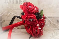 WEDDING FLOWERS BRIDESMAID BOUQUET IN RED AND BLACK ROSES…