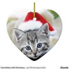 Cute kitten with Christmas hat Double-Sided Heart Ceramic Christmas Ornament