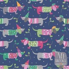 Dogs in sweaters! A holiday pattern by pattern camper & surface pattern designer Alison Brookes.