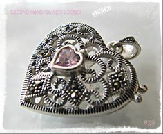 Silver locket with pink quartz heart & marcasites - www.flearoom.fi