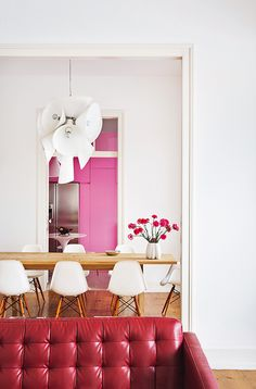 I love this modern, technicolor home in lisbon i saw in architectural digest espana. hot pink...