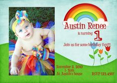Birthday Invitations : Modern Birthday Invitation Templates 2013 - Austin's 1st Birthday With Rainbow Decor And Photo