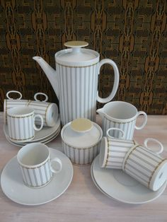 Thomas Rosenthal of Germany Coffee Pot, Milk / Cream Jug, Sugar Bowl and 6 Coffee Cups /Cans and Saucers Retro Vintage Mid Century 1970's