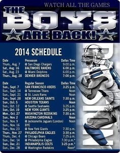 The Boys Are Back 2014-2015 Dallas Cowboys Schedule - Dallas Cowboys 2014 schedule - Dallas Cowboys 2014 Schedule - The Boys Are Back website