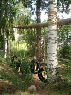 25 Ways To Seriously Upgrade Your Family& Backyard Love the tire swings/obstacle course, and tin cans. The boys could help hammer holes into the cans Kids Outdoor Play, Outdoor Play Spaces, Kids Play Area, Backyard For Kids, Outdoor Fun, Outdoor Games, Backyard Ideas, Natural Outdoor Playground, Sloped Backyard