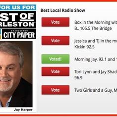 "Thanx 4 UR vote in Charleston City Paper's #BOC17 voting 4 ""Best Local Radio Show"" @jayharpervo"