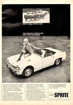 """An original 1966 advertisement for Austin Healey Sprite. Classic convertible car with a beautiful blonde sitting on the hood. Cool retro fashion. """"Want a real sports car?"""" -A vintage 1966 Austin Heale"""