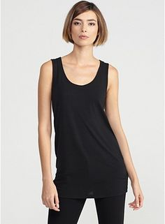 U-Neck Long Shell with Tapered Hem in Stretch Silk Jersey