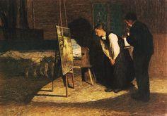 colin-vian Giovanni Segantini (Italian, 1858-1899), I miei modelli [My models], 1888. Oil on canvas, 65.5 x 92.5cm. Kunsthaus, Zurich....