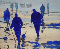 """Olivier Suire Verley (Contemporary French artist) - """"Bleu Marine"""" - Oil painting"""