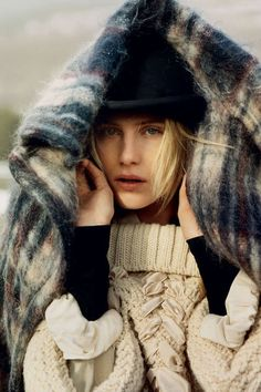 Dree Hemingway in knits, plaids, and wools.