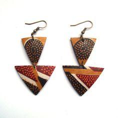 jaarokoko on Etsy Fabric Earrings, Fabric Beads, Diy Earrings, African Accessories, African Jewelry, Textile Jewelry, Fabric Jewelry, Style Tribal, Homemade Jewelry
