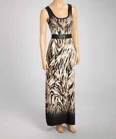 Another great find on #zulily! Connected Apparel Tan & Black Abstract Belted Maxi Dress by Connected Apparel #zulilyfinds