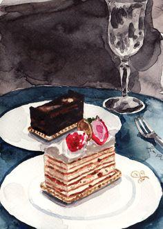 Millefeuille Dessert Setting Strawberry Chocolate - ORIGINAL Watercolor 5 x 7 - French Paris Dessert Laduree France