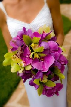 Fuschia orchids - tropical looking bouquet for the bride
