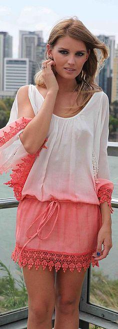 DIP DYE KAFTAN #dress #white and #coral