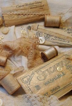 Love this gathering of vintage sewing treasures.
