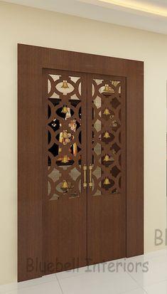Wooden Front Door Design, Wooden Doors, Room Partition Wall, Japanese Living Room Decor, Columns Decor, Interior Door Styles, Temple Design For Home, Pooja Room Door Design, Wardrobe Design Bedroom