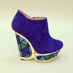 Ocean hues. #new #shoes #wedges #blue #bootie #fashion #platform