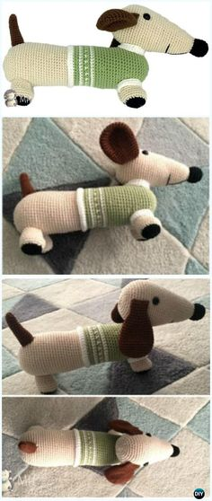Crochet Sausage Puppy in Sweater Amigurumi Free Pattern - #Amigurumi Puppy #Dog Stuffed Toy Crochet Patterns