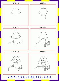 7-How to draw a Lamp for kids (step by step)