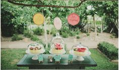 Adorable dessert table featuring custom embroidered hoops by The Merriweather Council.
