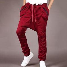 Men s Casual Pure Chinos Sweatpants Pants ( Cotton )   Streetwear 080c599fb