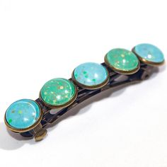 Heaven and Earth - light pale green, light sky blue, gold, red, orange, yellow, and gold glitter hair clip barrette