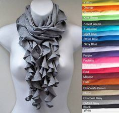 Cotton Jersey Multi Strand Ruffle Cowel Scarf All by AnniesCloset I WANT THIS SCARF!!!!!